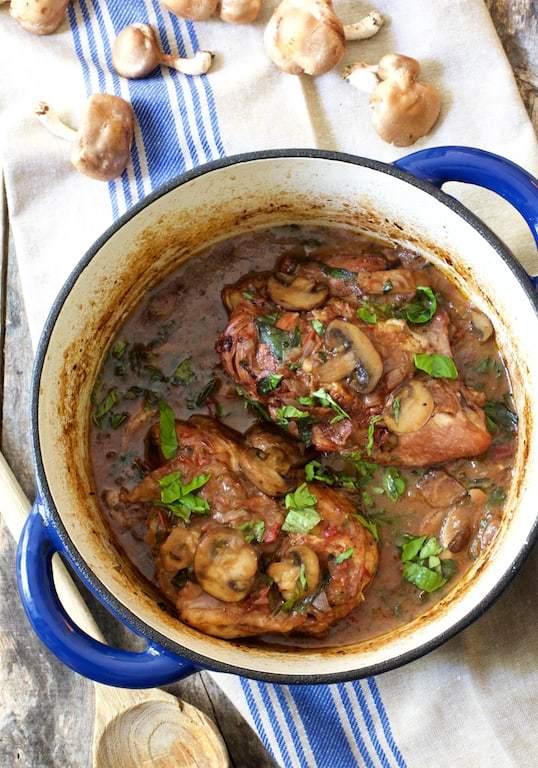 Chicken Pinot Noir with Wild Mushrooms and Fresh Basil Recipe | HeyFood — heyfoodapp.com