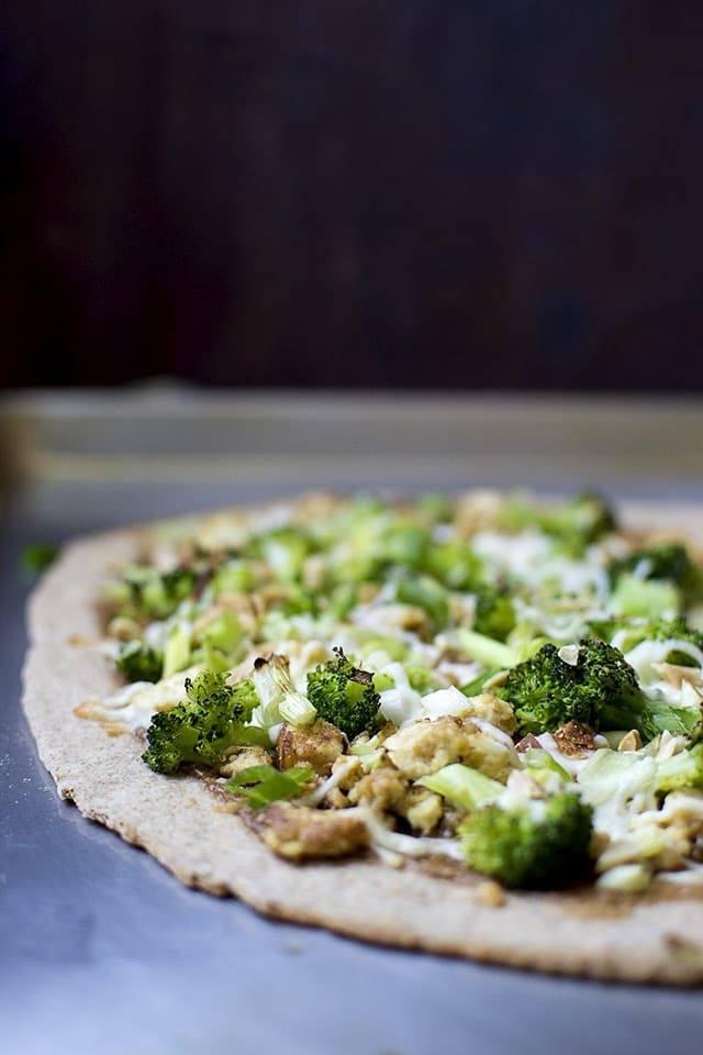 Thai Tofu Pizza on Spelt Crust Recipe   HeyFood — heyfoodapp.com
