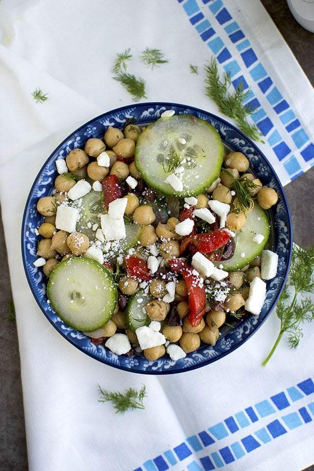 Greek Cucumber & Chickpea Salad Recipe   HeyFood — heyfoodapp.com
