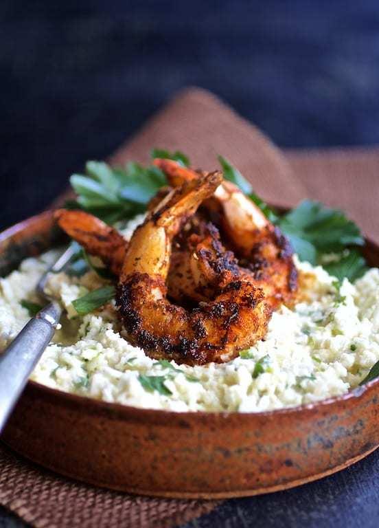 Cauliflower Grits with Gouda Cheese and Blackened Shrimp Recipe | HeyFood — heyfoodapp.com