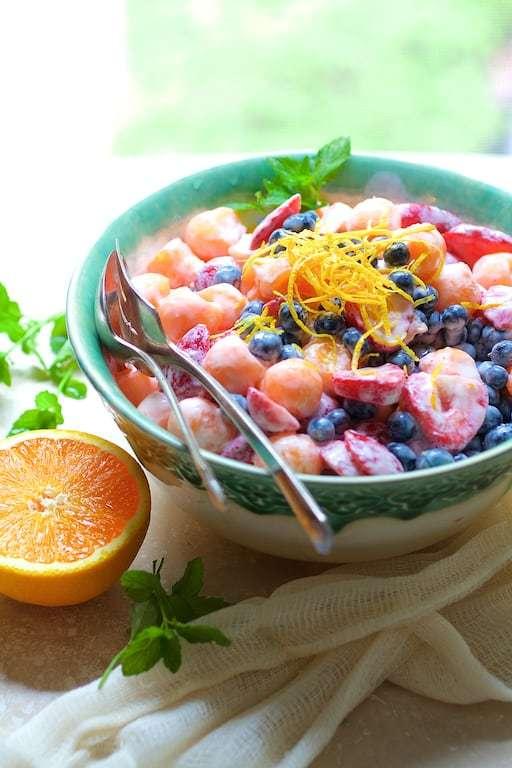 Summer Fruit Salad with Orange Vanilla Yogurt Dressing Recipe | HeyFood — heyfoodapp.com
