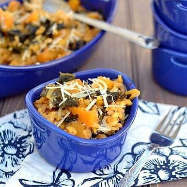 Baked Risotto with Butternut Squash & Kale Recipe | HeyFood — heyfoodapp.com