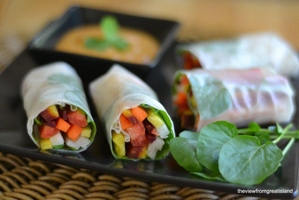 Rainbow Carrot Summer Rolls with Spicy Peanut Sauce Recipe   HeyFood — heyfoodapp.com