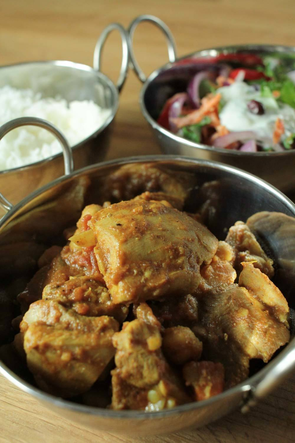Easy Chicken and Chickpea Curry with Indian Slaw Recipe | HeyFood — heyfoodapp.com