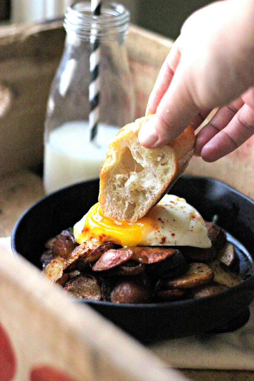 Purple Potato & Chicken Sausage Hash + Smokey Eggs Recipe | HeyFood — heyfoodapp.com