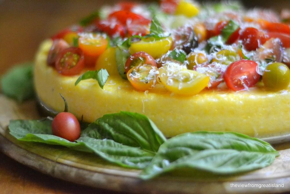 Polenta Tart with Heirloom Tomatoes Recipe | HeyFood — heyfoodapp.com