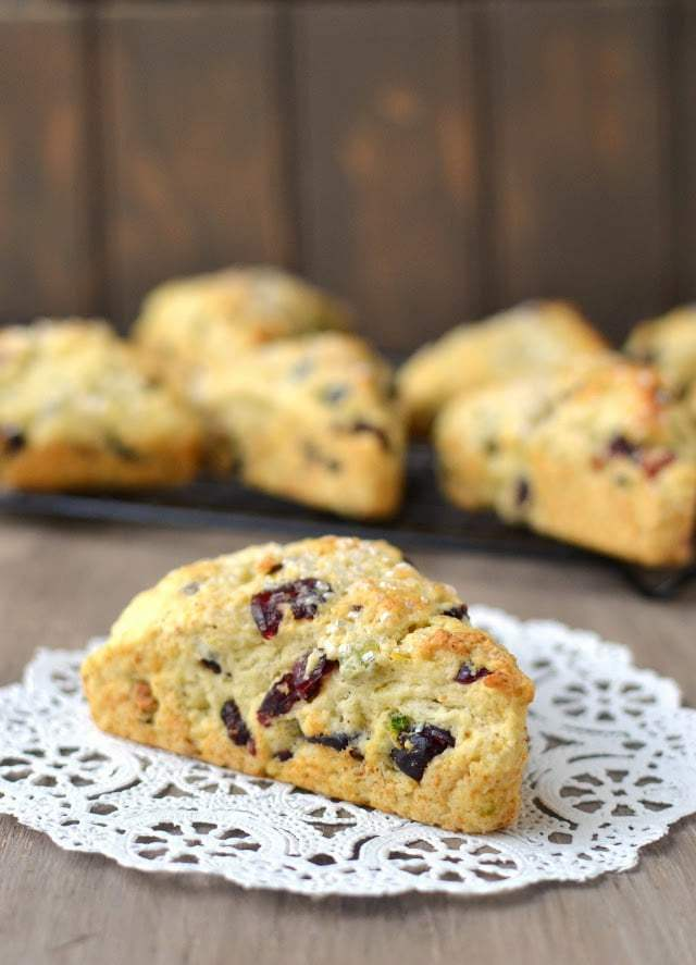 Cranberry-Pistachio Cream Scones Recipe | HeyFood — heyfoodapp.com