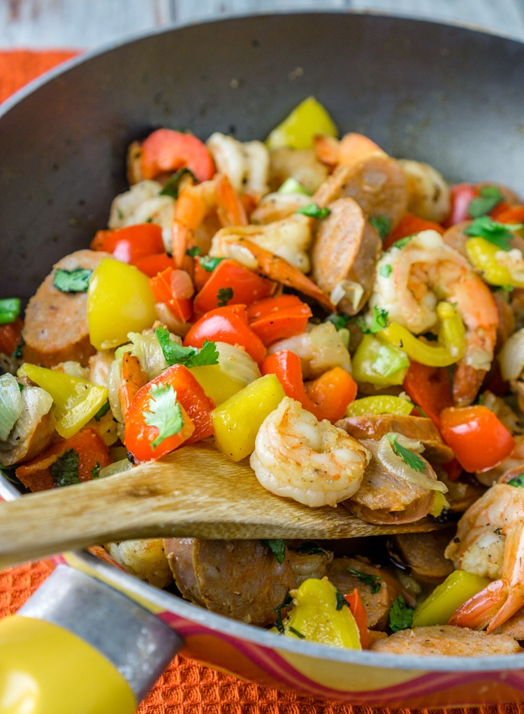 20 Minute Sausage & Shrimp Skillet Recipe | HeyFood — heyfoodapp.com