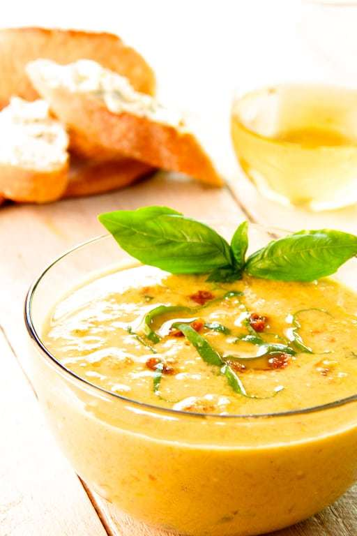 Sweet Corn and Sun-Dried Tomato Chowder with Goat Cheese and Chive Croutons Recipe | HeyFood — heyfoodapp.com
