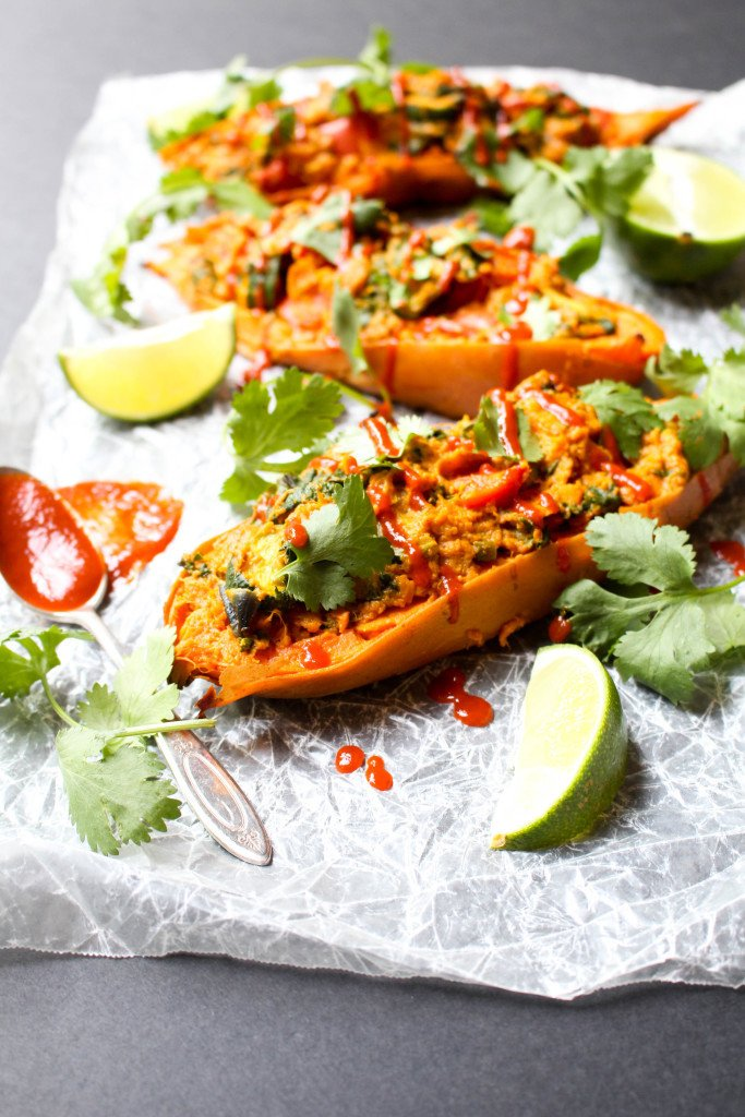Twice Baked Curry Sweet Potatoes Recipe | HeyFood — heyfoodapp.com