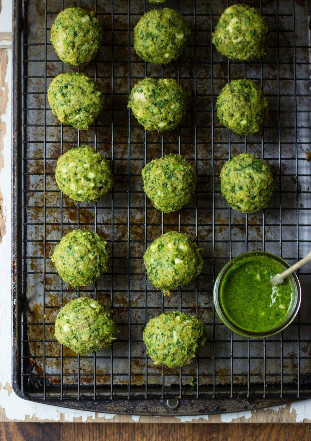 Spanakopita Chicken Meatballs + Spinach-Dill Pesto Recipe | HeyFood — heyfoodapp.com