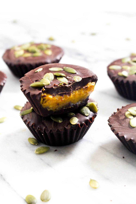 Pumpkin Caramel Chocolate Cups Recipe   HeyFood — heyfoodapp.com