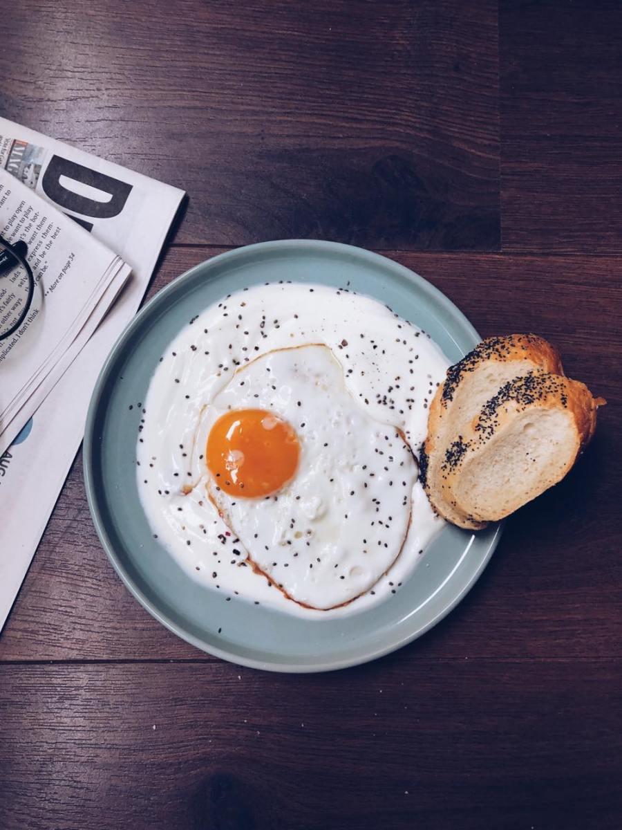 Eggs in yogurt Recipe   HeyFood — heyfoodapp.com
