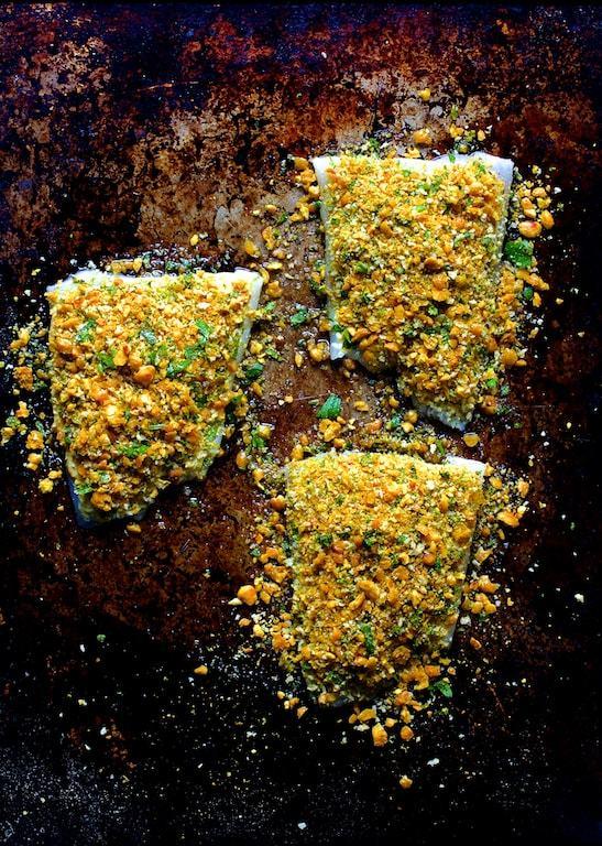 Curried Chickpea Encrusted Barramundi with Jalapeno Lime Tartar Sauce Recipe | HeyFood — heyfoodapp.com