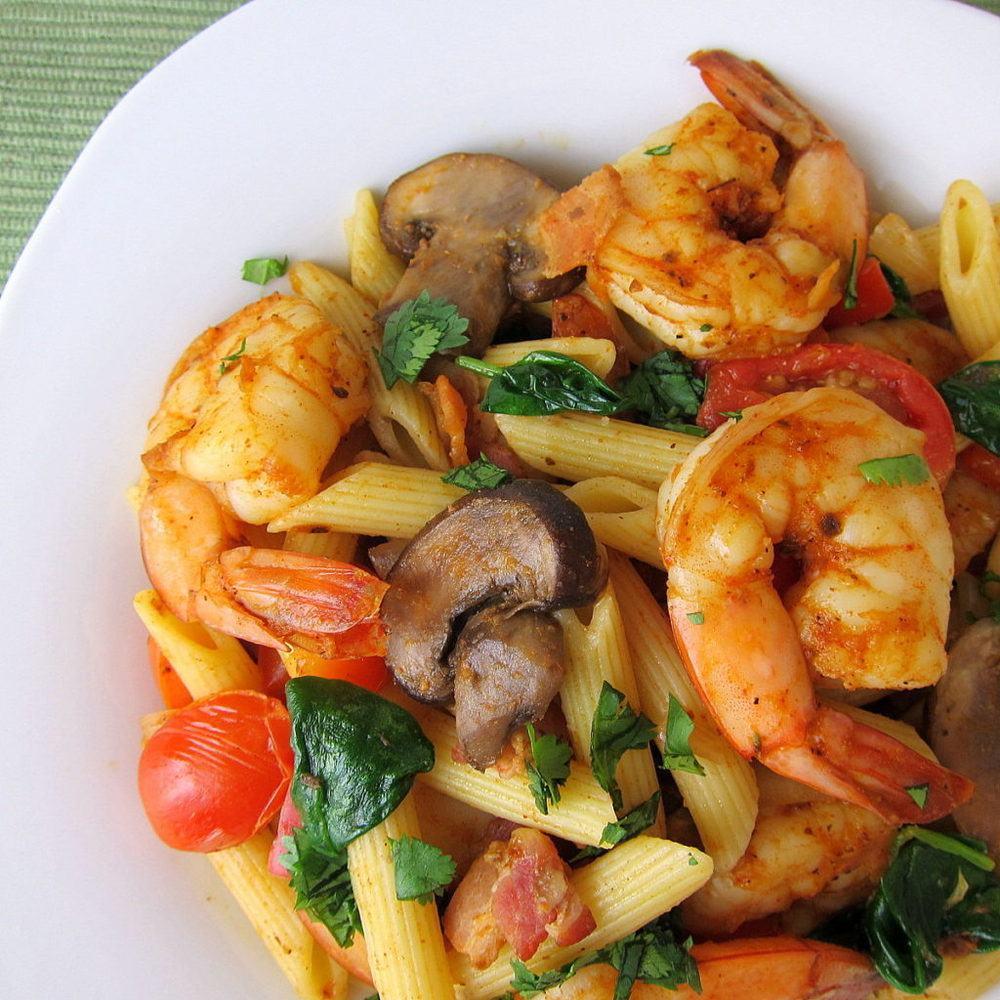 Cajun Shrimp and Vegetables Pasta Recipe | HeyFood — heyfoodapp.com