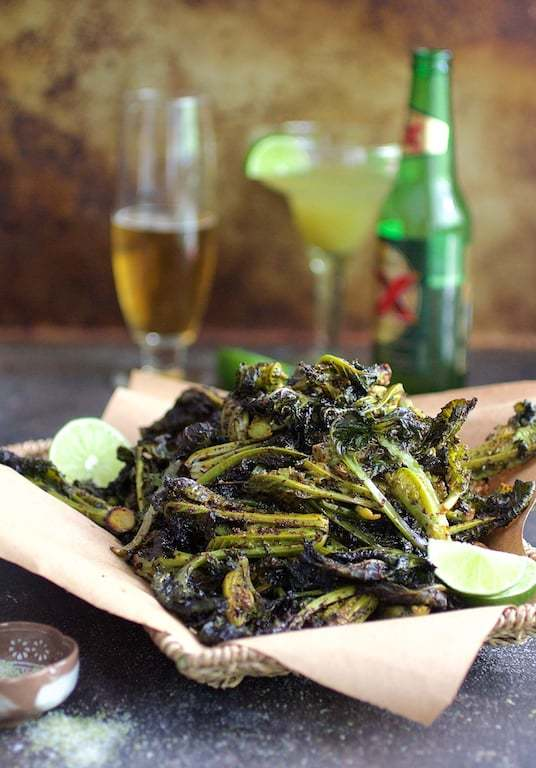 Chili Roasted Kale Sprouts with Lime Salt Recipe   HeyFood — heyfoodapp.com