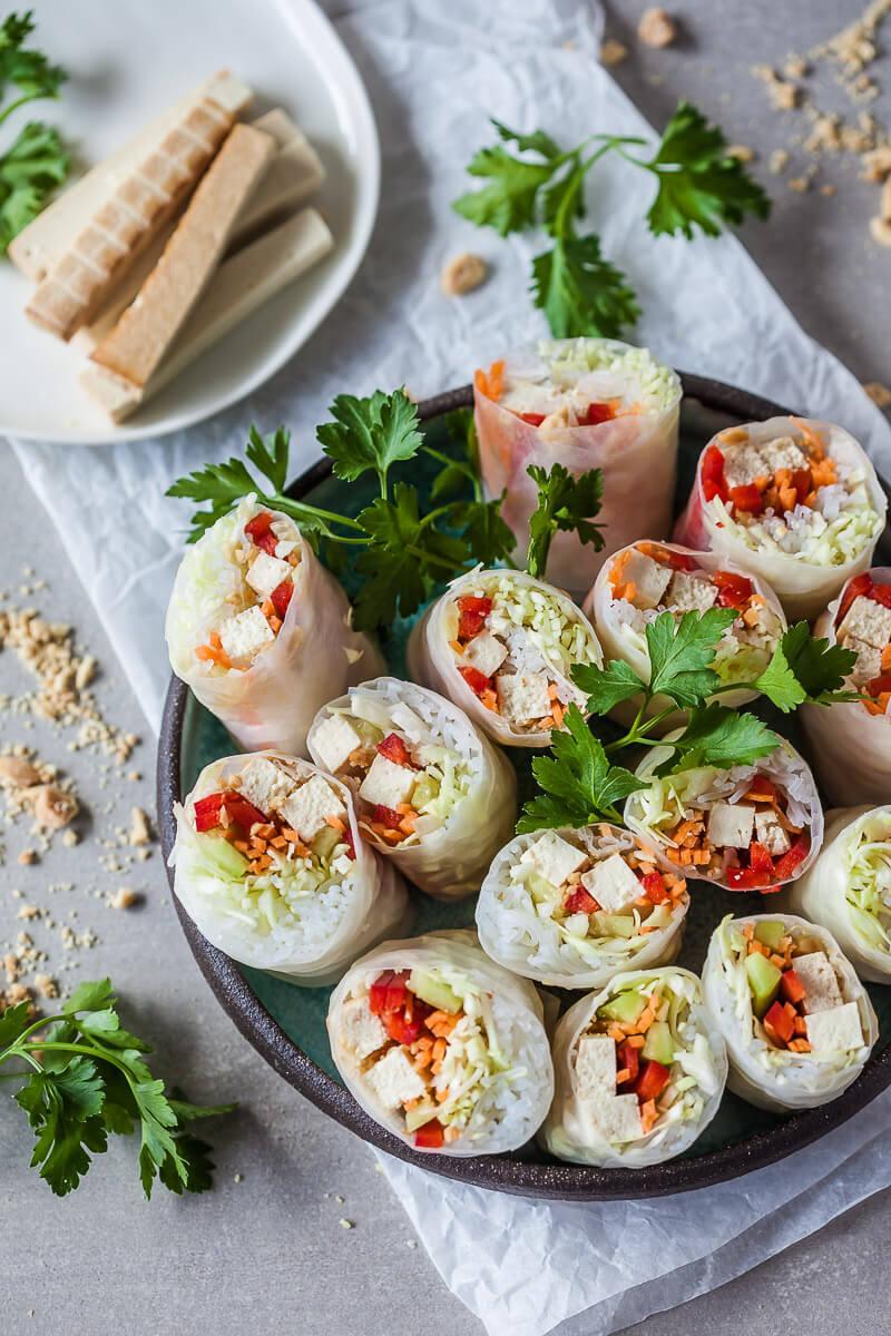 Vegan Tofu Spring Rolls with Peanut Dipping Sauce Recipe   HeyFood — heyfoodapp.com