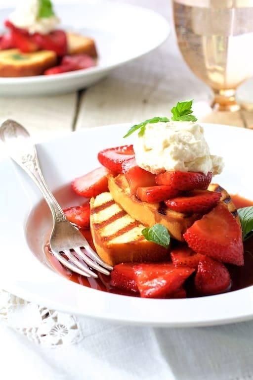 Grilled Pound Cake with Balsamic Macerated Strawberries and Mascarpone Cream Recipe | HeyFood — heyfoodapp.com