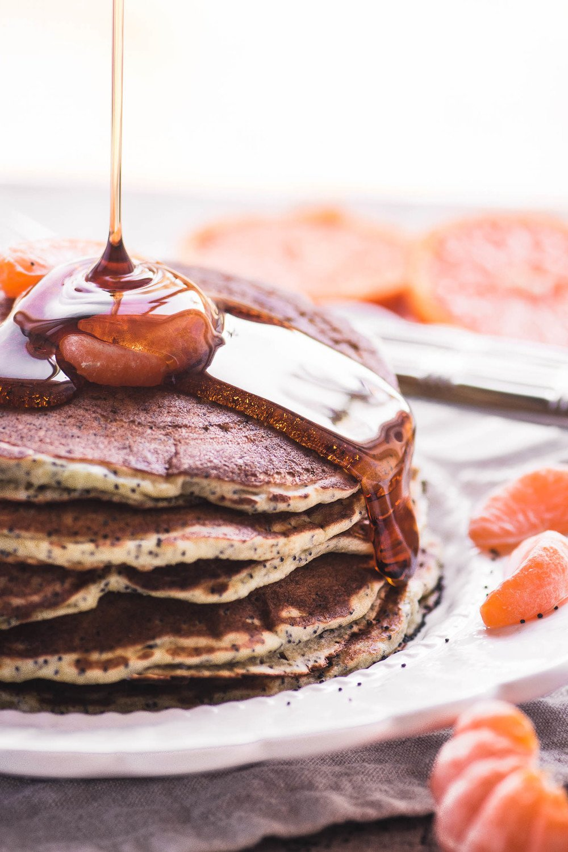Tangerine Poppy Seed Pancakes Recipe   HeyFood — heyfoodapp.com