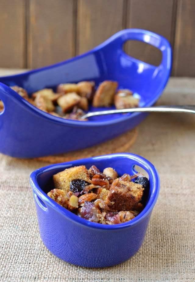 Fruit & Toasted Almond Stuffing for Thanksgiving Recipe   HeyFood — heyfoodapp.com