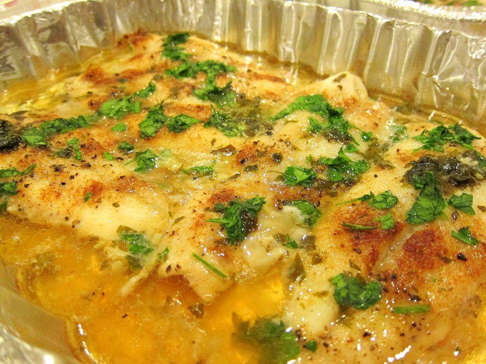 Baked Swai with White Wine Lemon Garlic Sauce Recipe | HeyFood — heyfoodapp.com