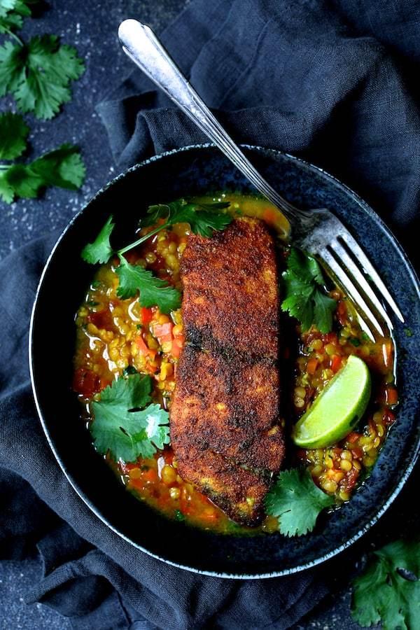 Indian Spiced Sea Bass with Braised Red Lentils Recipe | HeyFood — heyfoodapp.com
