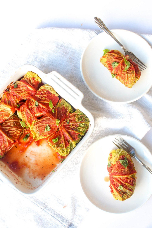 Cabbage Rolls with Wild Rice Mushroom Stuffing Recipe | HeyFood — heyfoodapp.com