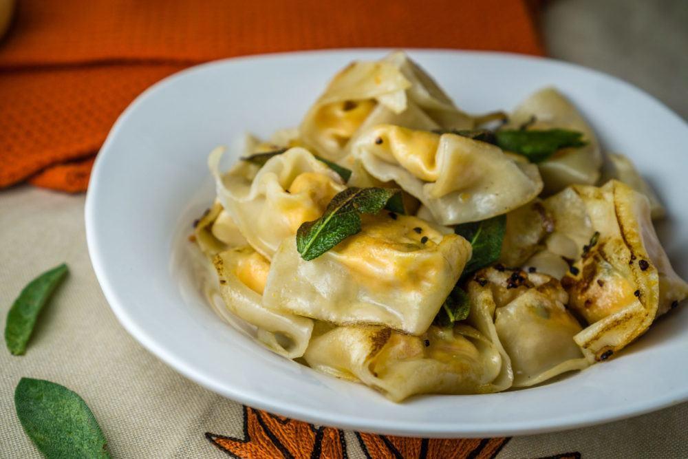 Butternut Squash Ricotta Wonton Ravioli with Crispy Sage Recipe | HeyFood — heyfoodapp.com