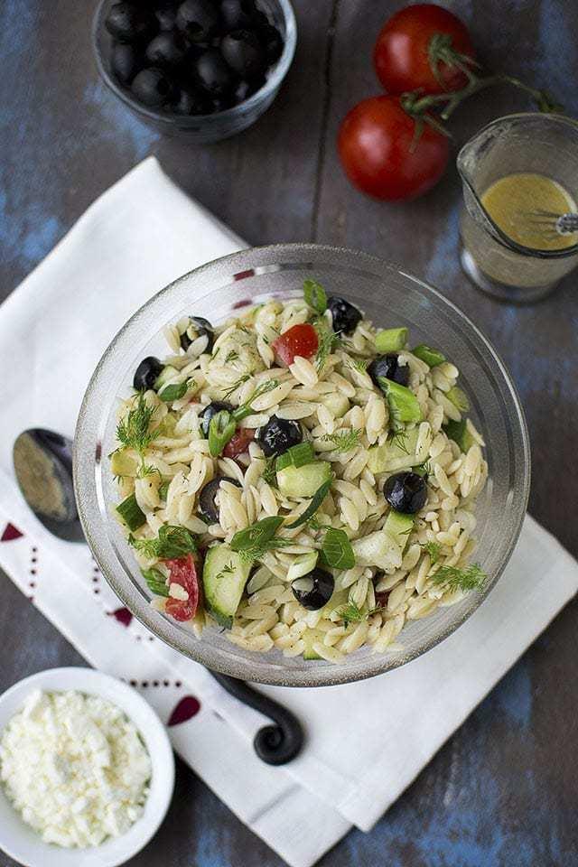 Greek Orzo Salad Recipe   HeyFood — heyfoodapp.com