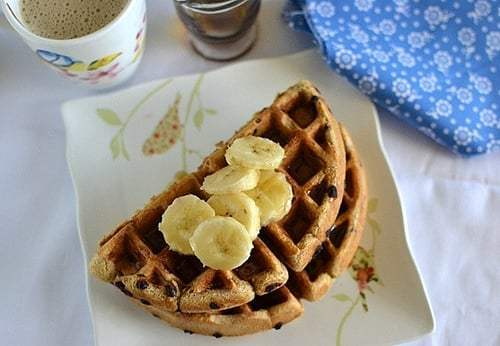 Almond Butter & Chocolate Chip Waffles Recipe | HeyFood — heyfoodapp.com