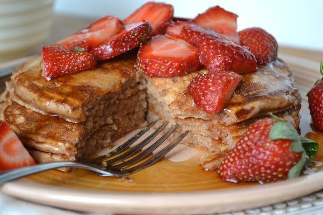 Cocoa Buttermilk Pancakes with Strawberries Recipe | HeyFood — heyfoodapp.com