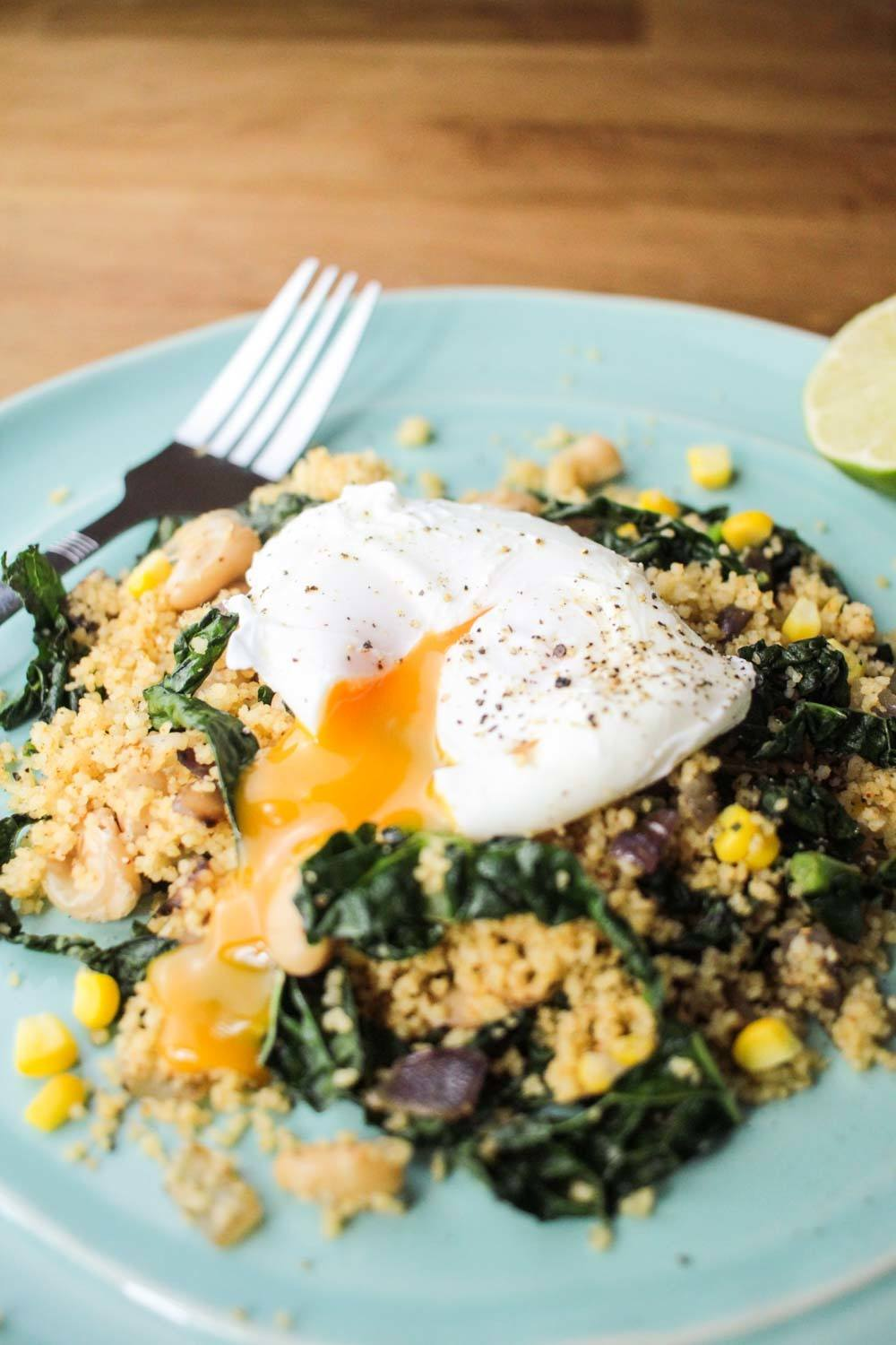 Fragrant Couscous Salad with a Runny Poached Egg Recipe | HeyFood — heyfoodapp.com