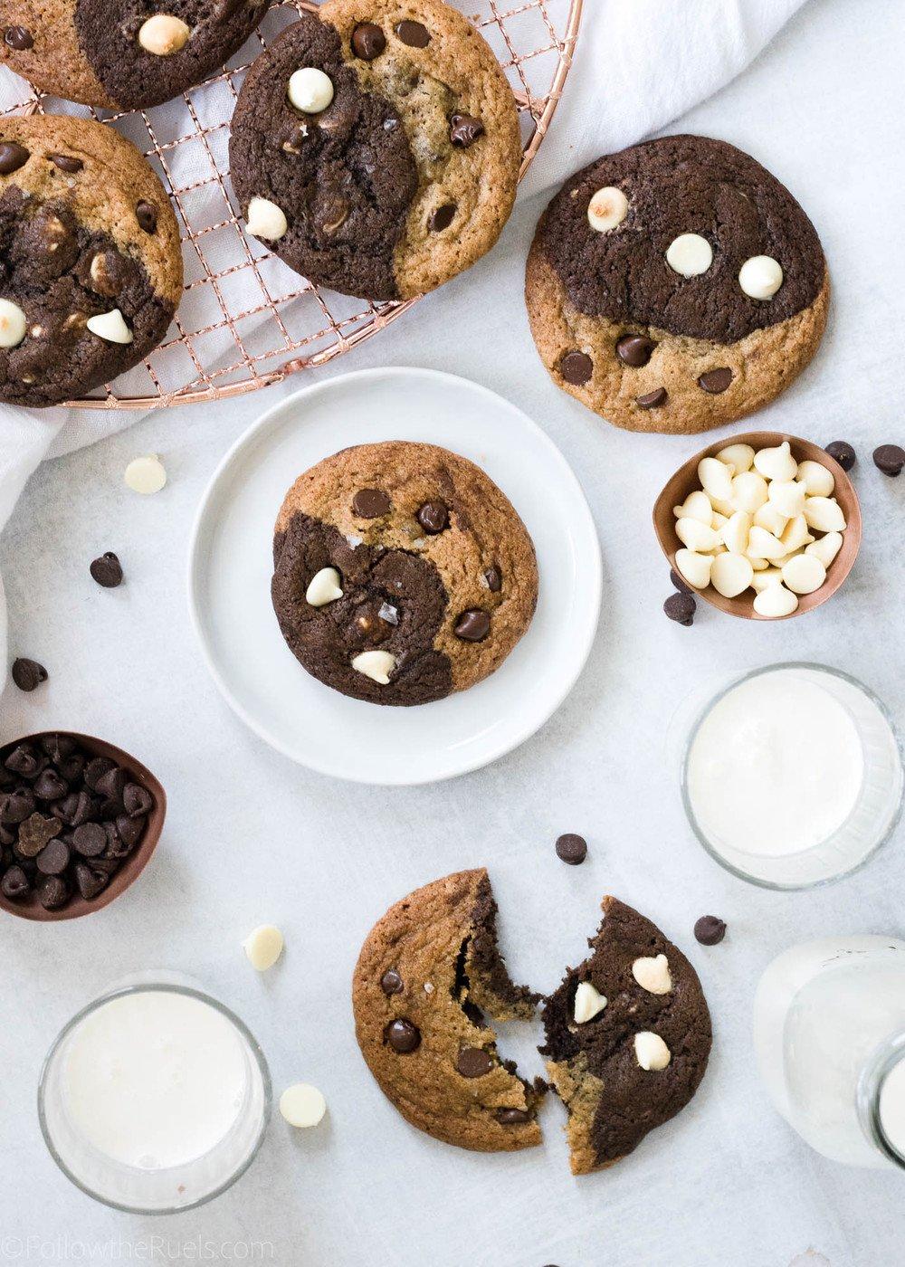 Black and White Double Chocolate Chip Cookies Recipe | HeyFood — heyfoodapp.com