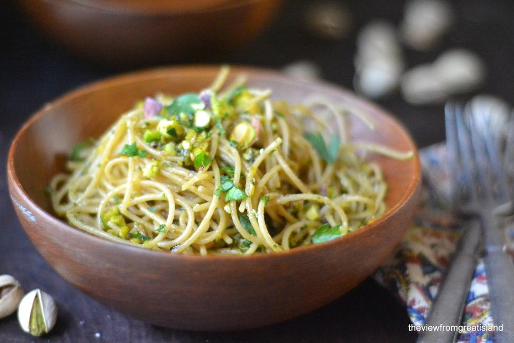 Whole Grain Pasta with Pistachio Pesto Recipe | HeyFood — heyfoodapp.com