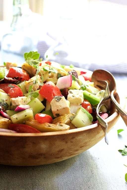 Greek Vegetable Salad with Marinated Feta Cheese Recipe   HeyFood — heyfoodapp.com