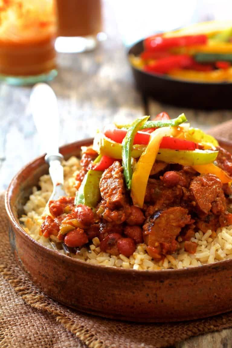 Red Beans and Rice with Chorizo and Bell Pepper Saute Recipe | HeyFood — heyfoodapp.com