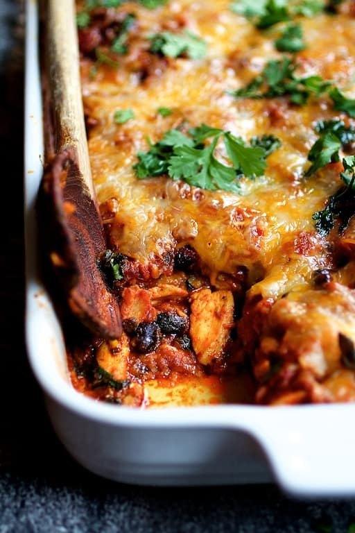 Mexican Chicken Poblano and Black Bean Tortilla Casserole Recipe   HeyFood — heyfoodapp.com