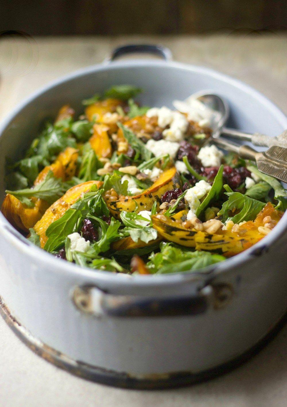 Roasted Acorn Squash, Wheat Berry & Feta Salad Recipe | HeyFood — heyfoodapp.com