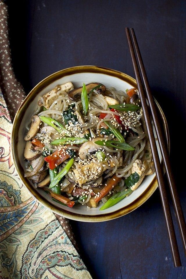 Japchae (Korean Sweet Potato Noodles) Recipe | HeyFood — heyfoodapp.com