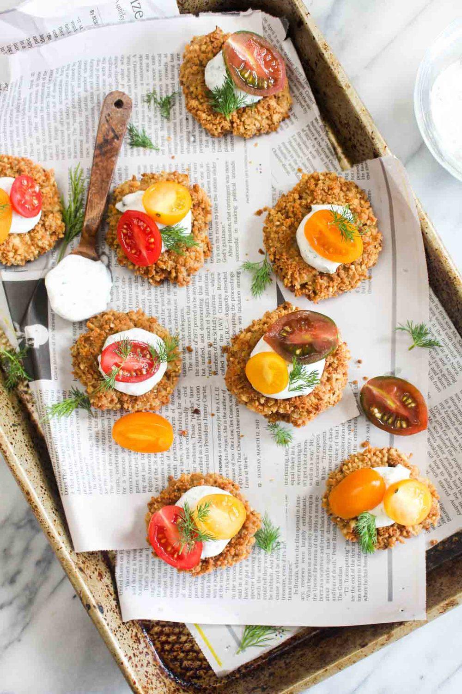 Vegan Crab Cakes with Herbed Yogurt Sauce Recipe | HeyFood — heyfoodapp.com