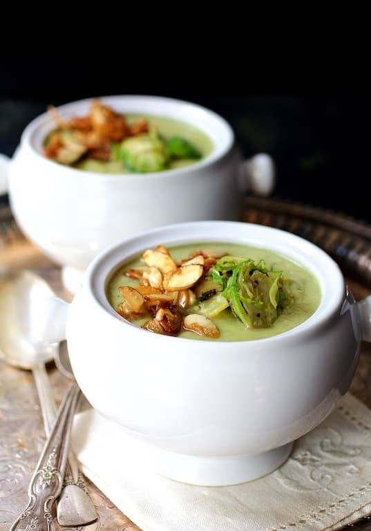 Cream of Brussels Sprout Soup with Butter and Turbinado Toasted Almonds Recipe | HeyFood — heyfoodapp.com