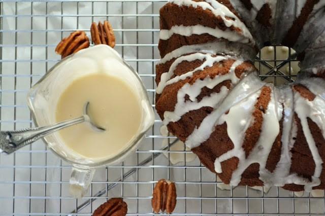 Nutty Whole Grain Pumpkin Coffee Cake with Bourbon Glaze Recipe | HeyFood — heyfoodapp.com