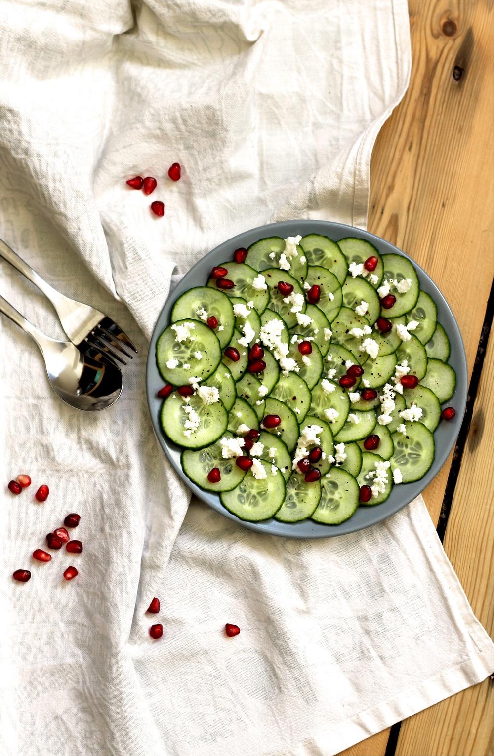 Cucumber, feta & pomegranate salad (V) Recipe   HeyFood — heyfoodapp.com