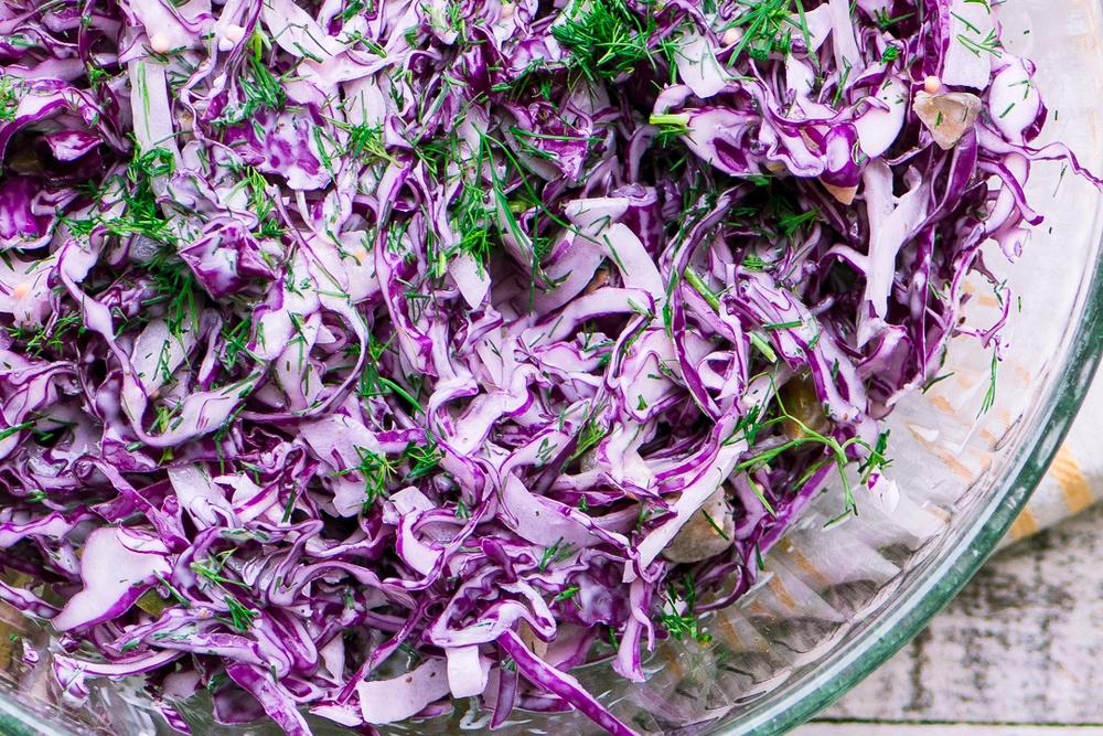 Red Cabbage and Dill Slaw Recipe | HeyFood — heyfoodapp.com