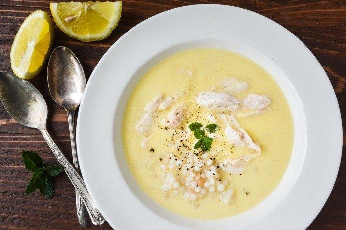 Lemon Soup with Chicken and Israeli Couscous Recipe   HeyFood — heyfoodapp.com