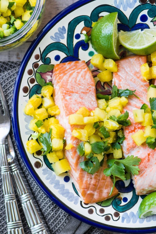 Salmon with Pineapple Jalapeno Salsa Recipe   HeyFood — heyfoodapp.com