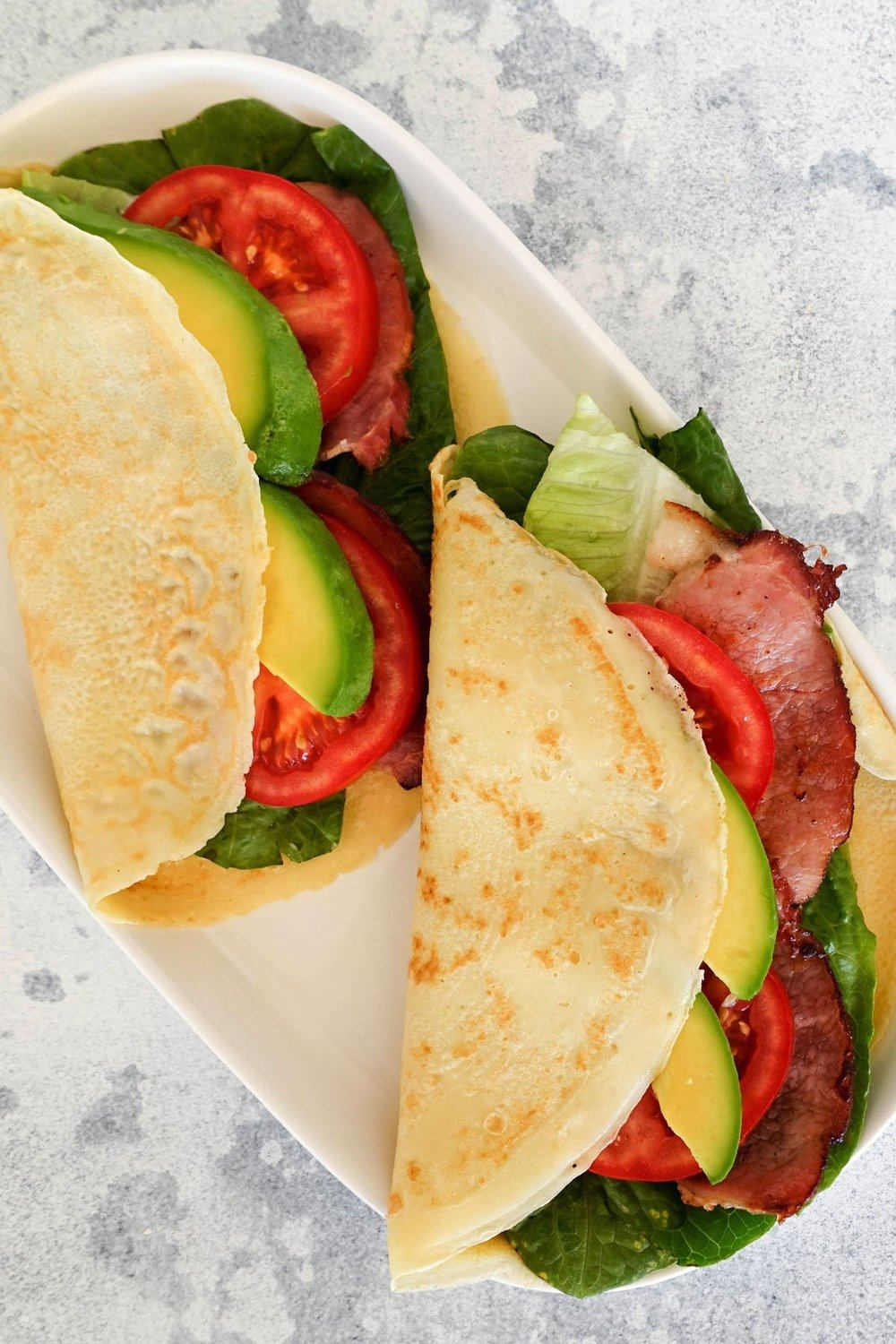 Quick & Easy Crepe with Bacon Lettuce Avocado & Tomato Recipe | HeyFood — heyfoodapp.com