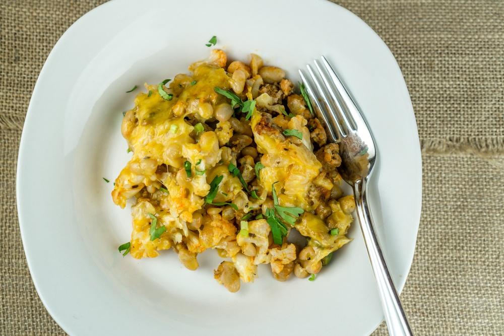 Cauliflower Chorizo Casserole with Mixed Beans Recipe | HeyFood — heyfoodapp.com