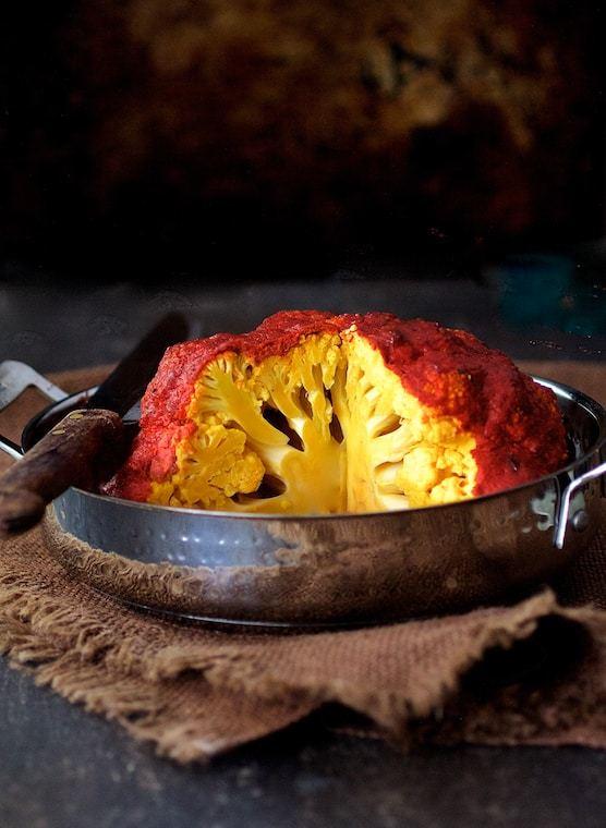 Brined Whole Roasted Tandoori Cauliflower Recipe | HeyFood — heyfoodapp.com