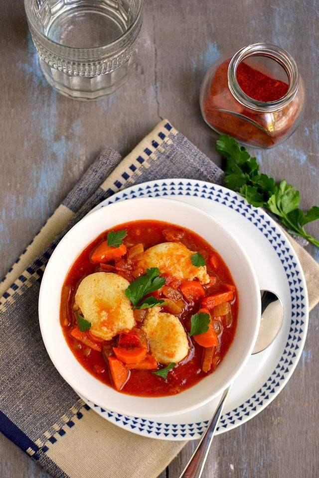 Vegetarian Paprikash with Dumplings Recipe | HeyFood — heyfoodapp.com
